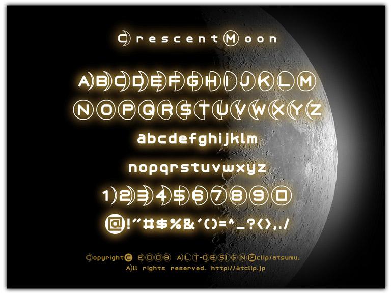 三日月フォントが無料でダウンロードできます。SF的英語フォント