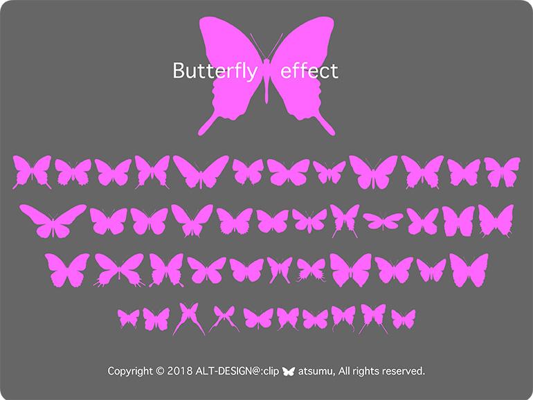 蝶のイラストフォント。国内外のシルエットで作成した蝶々のフリーフォント。個人商用可、リンクウェア。無料でダウンロードできます