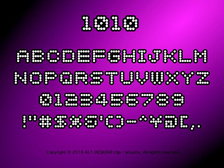 電飾やネオンのような点々なフリーフォント。個人商用OK。大文字のみの英語フォントになります。このフォントは無料でダウンロードすることができます。
